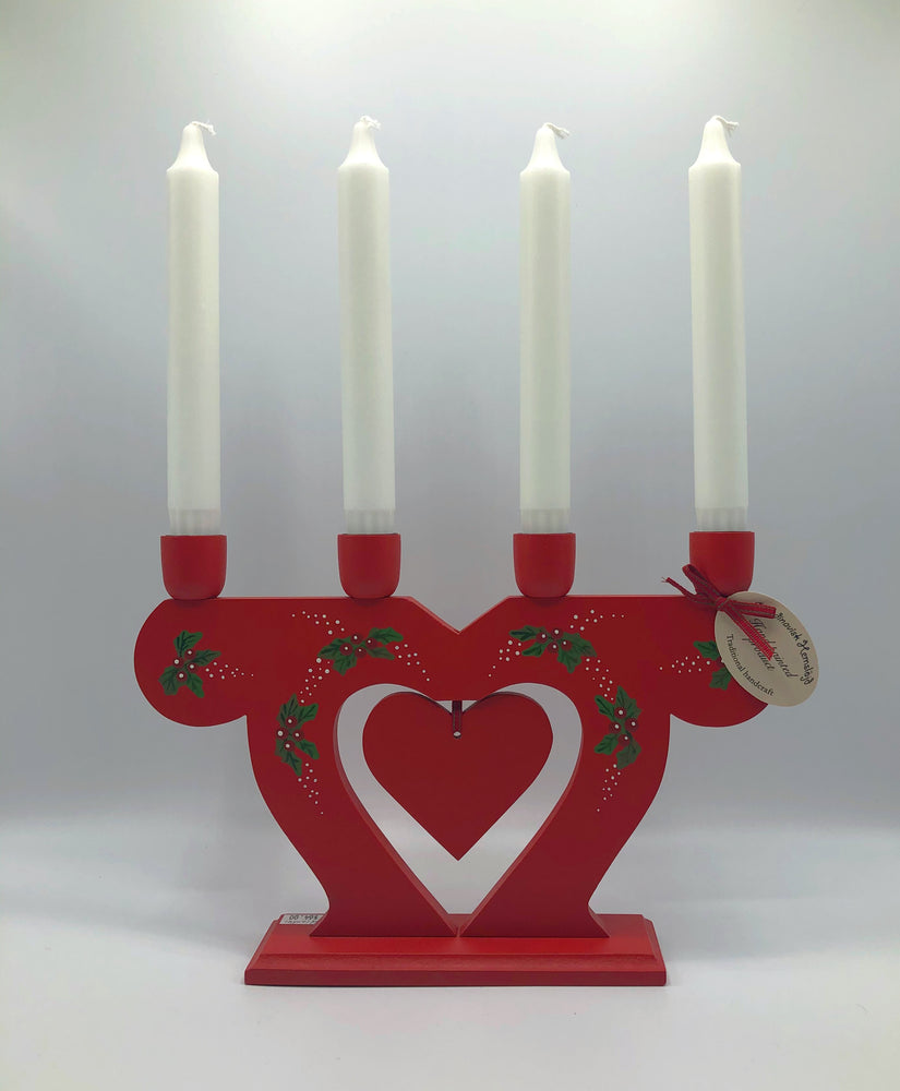 Wood Swedish Candleabre Red