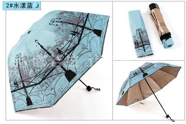 1 piece  anti UV Cool Bridge Rain Women Parasol men AS Gifts Windproof waterproof three Folding guarda chuva Umbrella