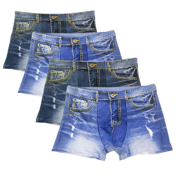 4 unids / lote Calidad Moda Sexy Boxers Shorts Jeans CALZONCILLOS