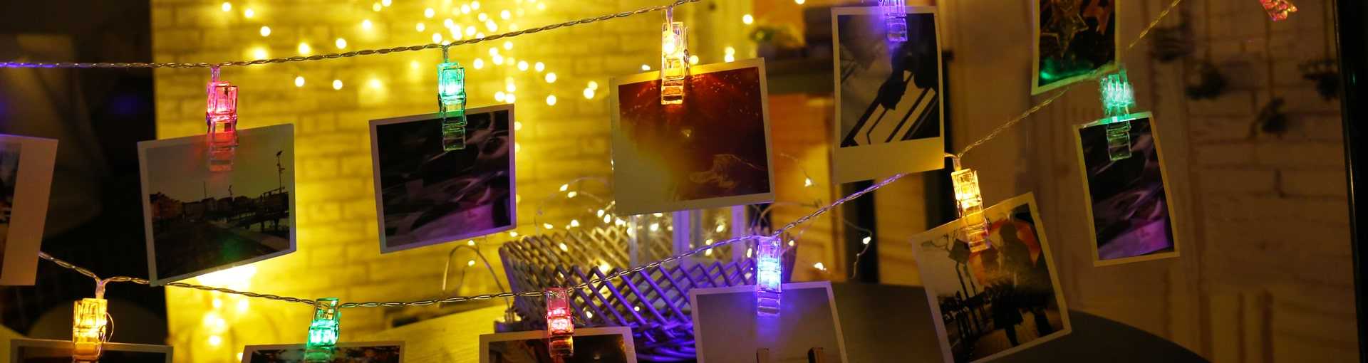 Photo Clip String Lights Banner