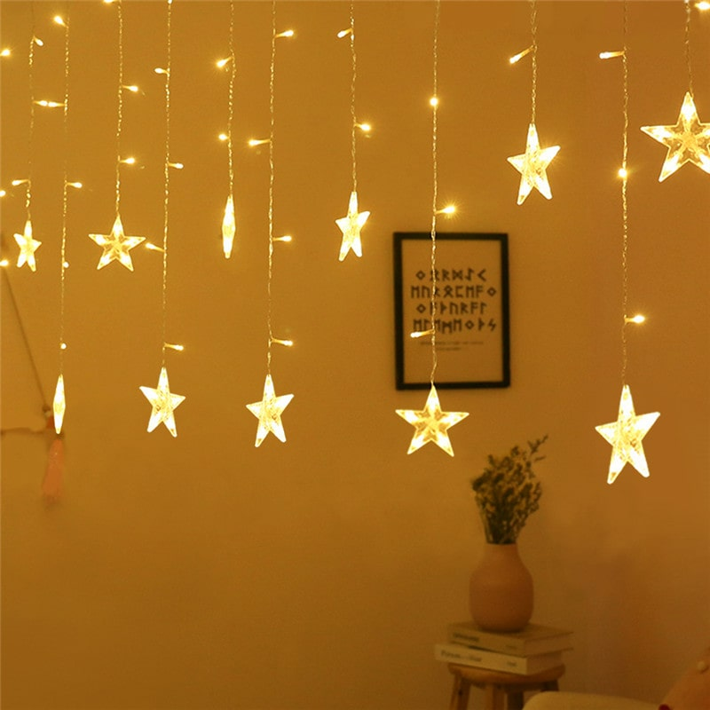 6W 8 Modes Detachable Waterproof Star Window Curtain Lights