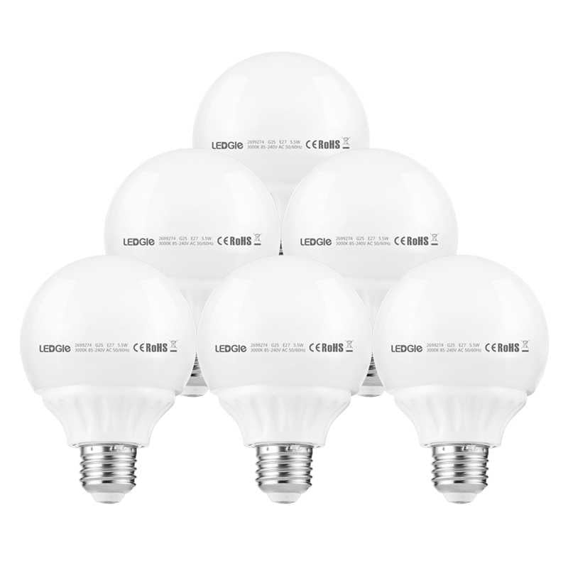 6Pack 5.5W E26 Warm White LED Light Bulbs
