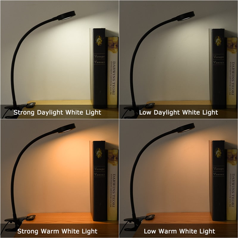 3W Mini Clip-on Flexible Dimmable Black Desk Lamps