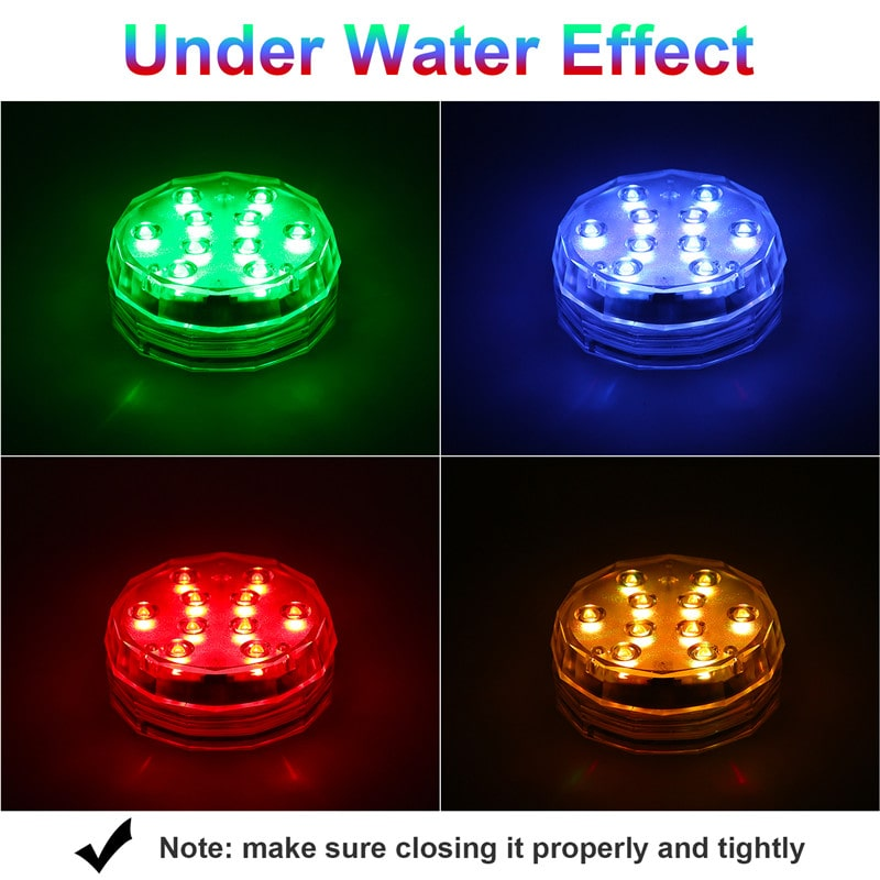 4 Pack Waterproof Submersible Underwater Pool Lights