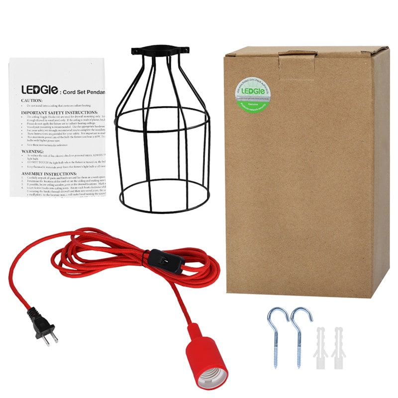 E26 Vintage Iron Lightshade Red Pendant Light Cord Kit