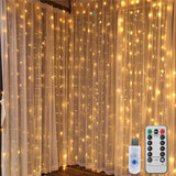 8 Modes Waterproof Warm White Curtain String Lights