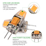 8 Pack 1.5W G4 Warm White COB LED Light Bulbs Set
