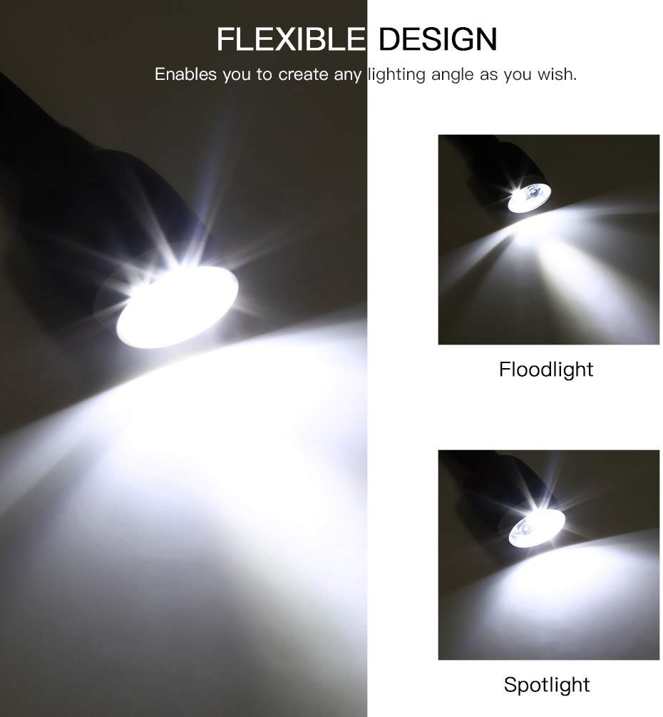 LEDGLE Updated Rechargeable LED Book Light, Hands Free, Best for Bed Reading or Read in Car, Flexible Arm, 4 Super Bright LED Bulbs, 4-Level Light Control