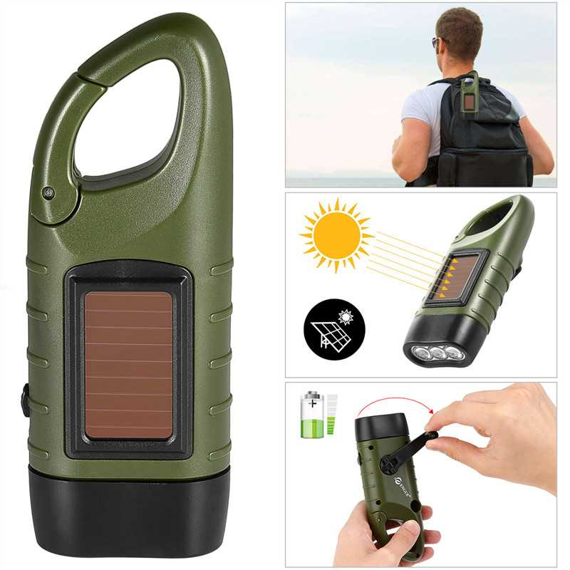 3W Solar Flashlight Hand Crank LED Flashlights
