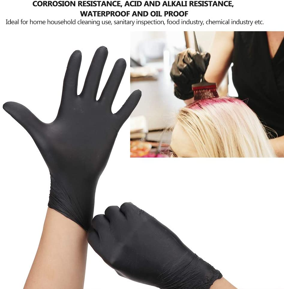 100 Pack 9inch Disposable Black Nitrile Midnight Mitts Gloves(M)