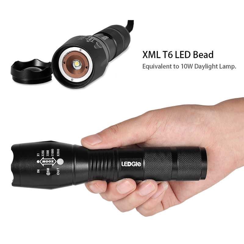 Zoomable Waterproof Electric Torch Flashlights