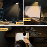 Book Light, LEDGLE LED Clip-on Amber Reading Light Clip-On Desk Light 3 Color Modes for Eye Protection Night Reading in Bed, Bedside