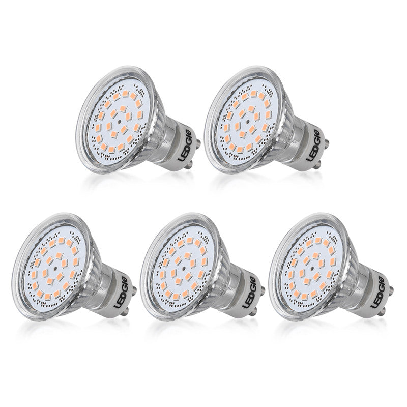 5 Pack 3.6W GU10 Warm White Spotlight Bulbs Set