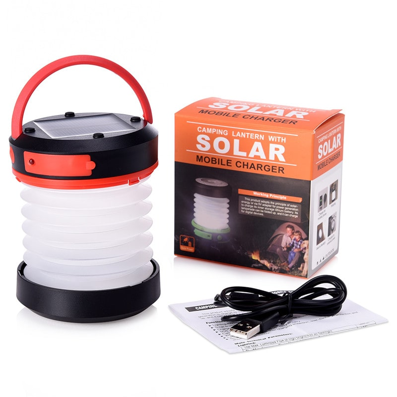 1W 3 Modes LED Solar Outdoor Camping Lantern Lights
