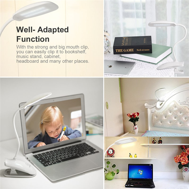 8W Clip-on 3 Brightness Rechargeable Book Lights