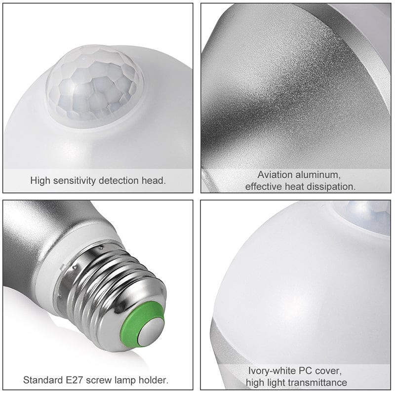 9W Infrared Motion Sensor Daylight E26 LED Bulbs