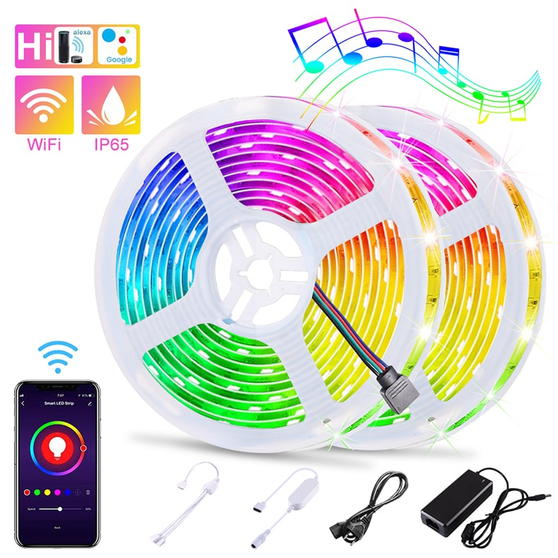 32.8ft WiFi Smart Flexible Waterproof RGB LED Strip Lights
