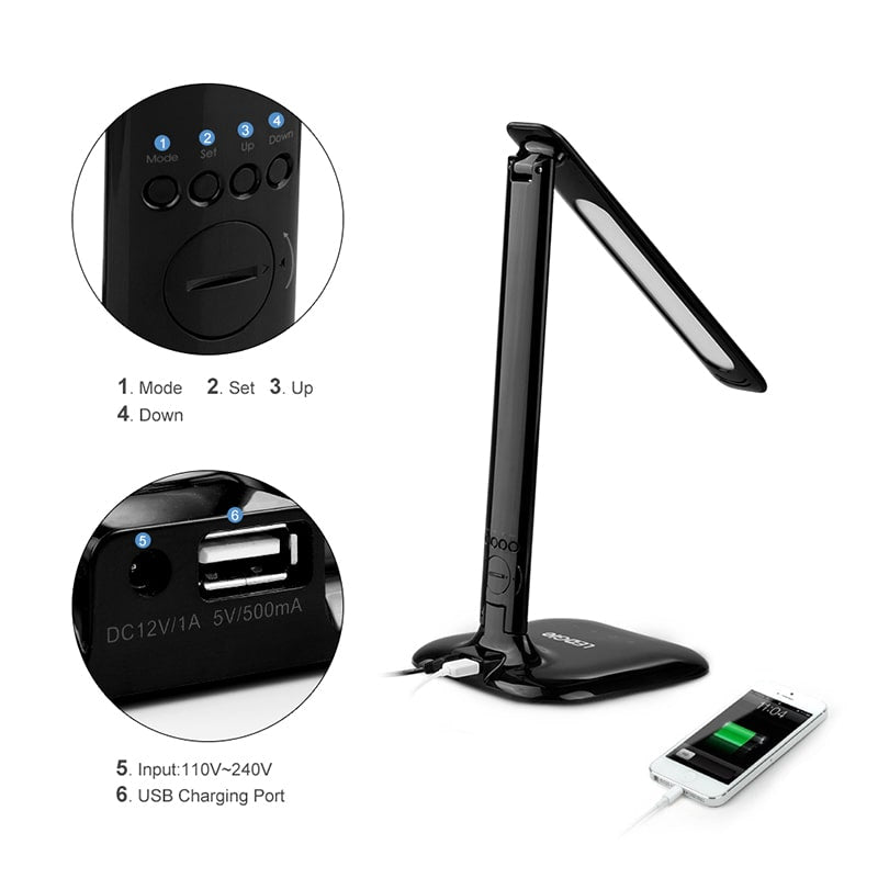 USB Charging Dimmable 8W LCD Screen LED Desk Lamp