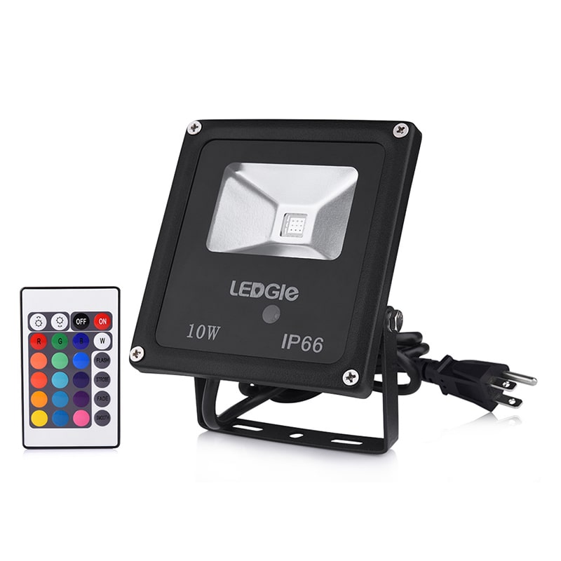 10W Waterproof Remote Control 16 Colors LED Flood Lights