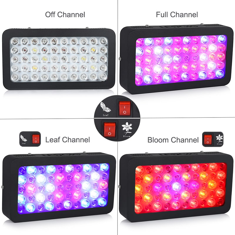 50*6W Full Spectrum Black LED Grow Fish Aquarium Lights