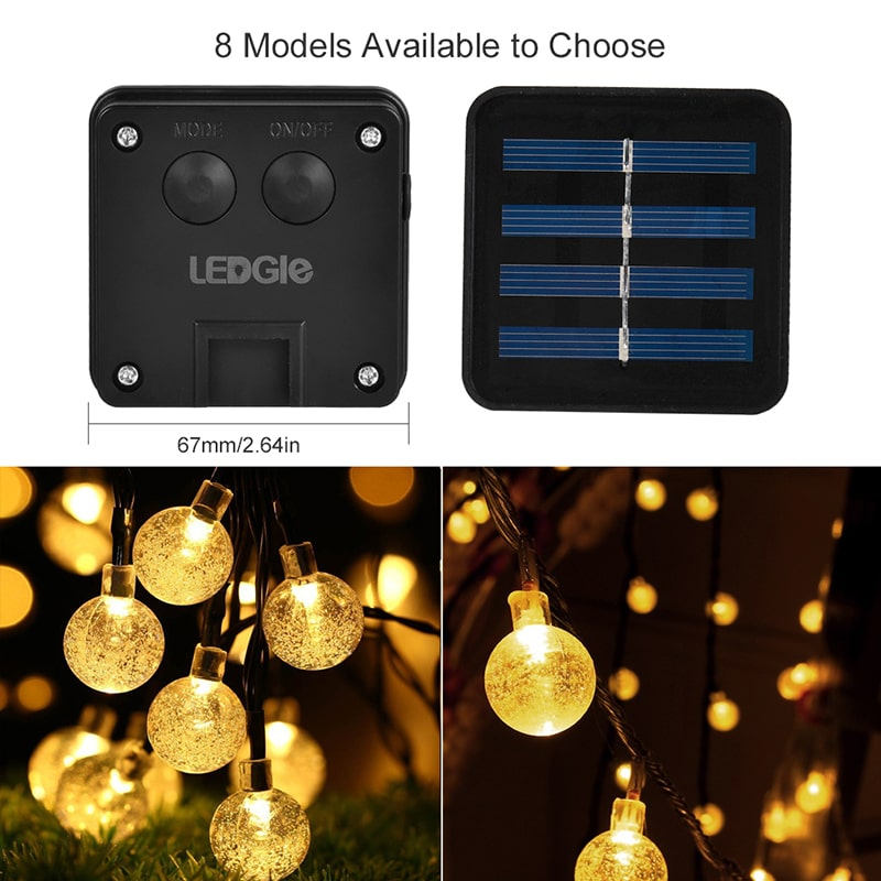 Waterproof Globe 8 Modes LED Solar String Lights