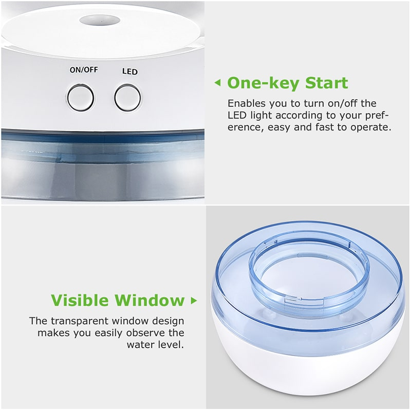 USB Powered 2W Mist Humidifiers With Blue LED Lights