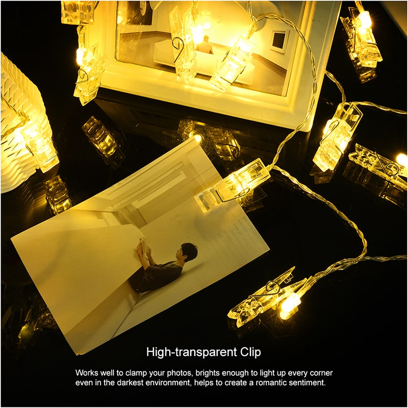Warm White Decorative LED Photo Clip String Lights