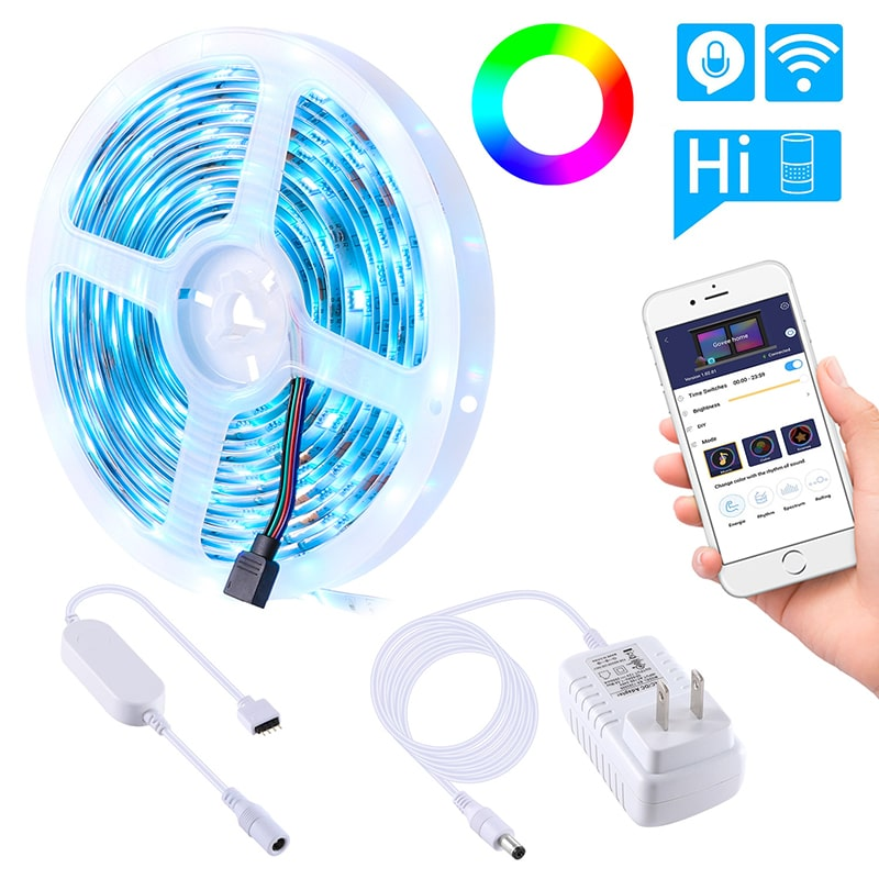 24W Waterproof 8 Modes WiFi Smart LED Strip Lights