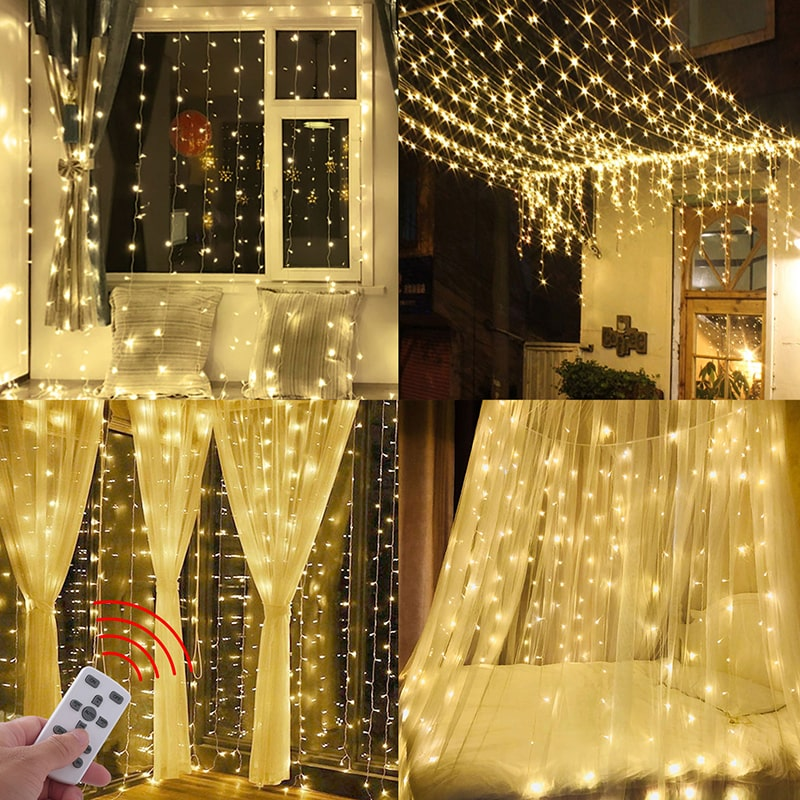 6W Waterproof 8 Lighting Modes String Curtain Lights