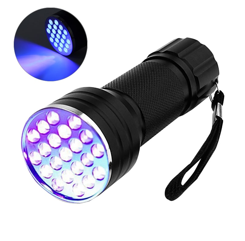 Battery Powered 21 LED Beads UV Flashlights