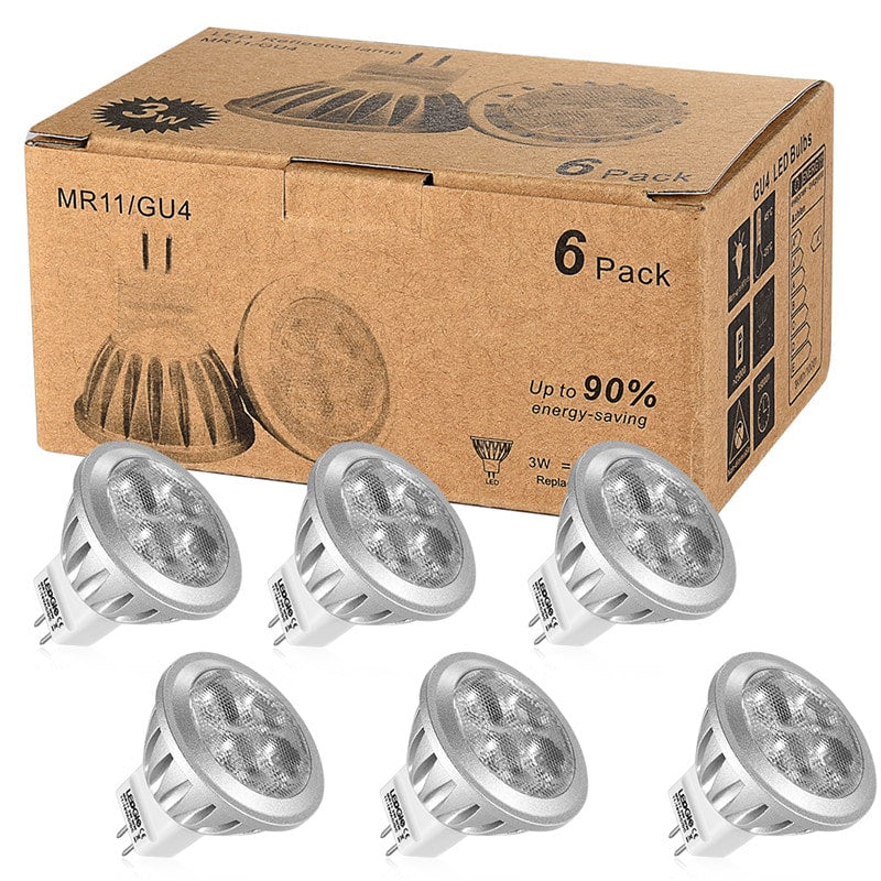 6 Pack GU4 Warm White LED Spotlight Bulbs