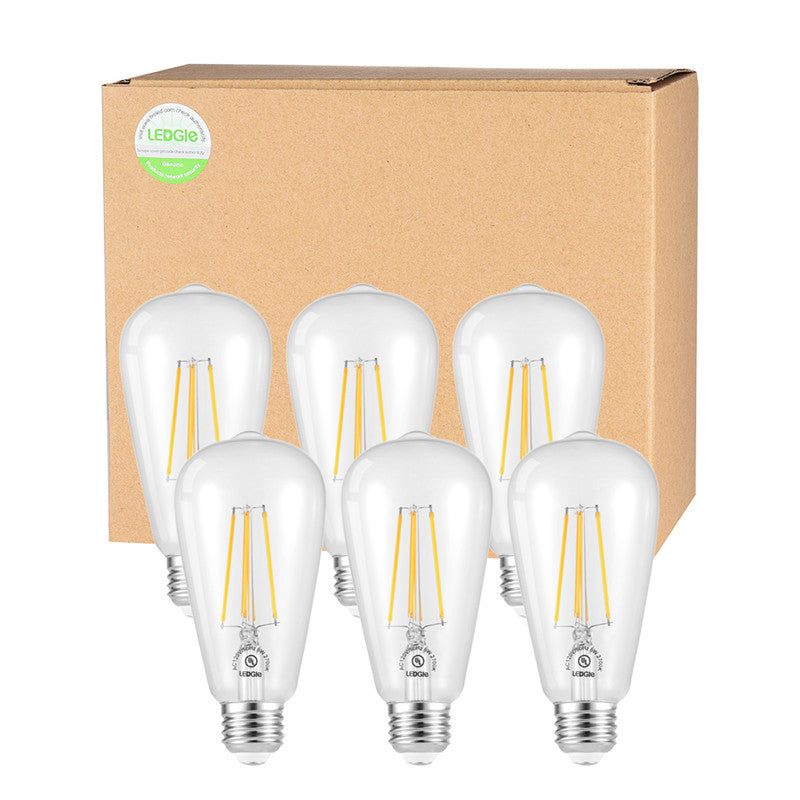 6 Pack 6W E26 Dimmable Warm White LED Bulb Set