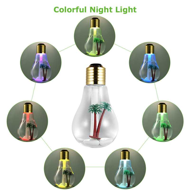 USB Mini Bulb Humidifiers with Colorful Lights