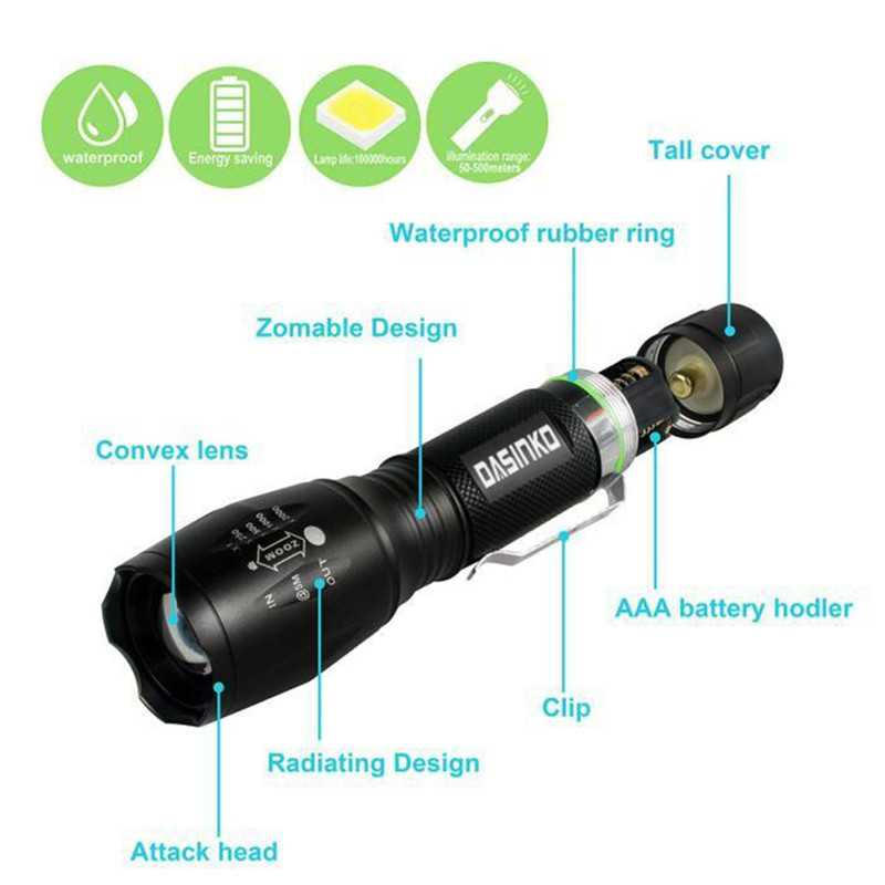 10W XML-T6 Flashlight Kit Torch Lights