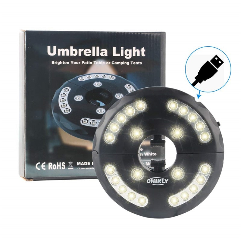 12W Rechargeable Cordless Camping Umbrella Lights