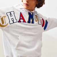Champion Reverse Weave Hoodie - Old English Lettering (Silver Grey)