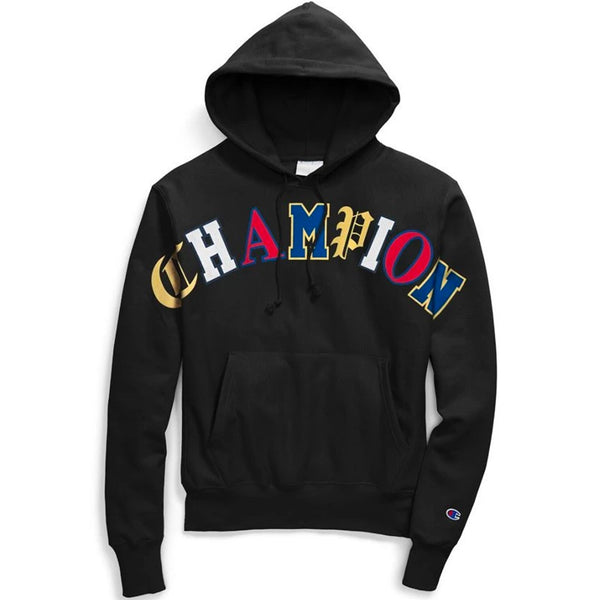 Champion Reverse Weave Hoodie - Old English Lettering (Black)