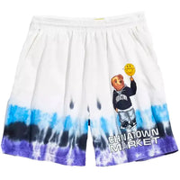 Chinatown Market Smiley Bear Shorts (White Tie Dye)