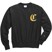 Champion Reverse Weave Crew - Old English Lettering (Black)