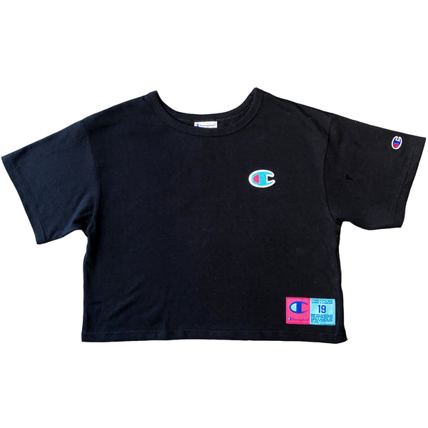 Champion Women's Jocktag Cropped Tee (Black))