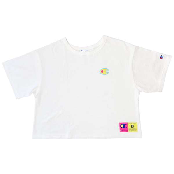 Champion Women's Jocktag Cropped Tee (White)