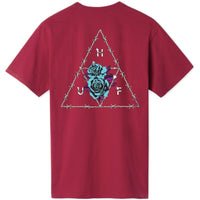 HUF  Dystopia Triple Triangle Tee (Rose Wood Red)