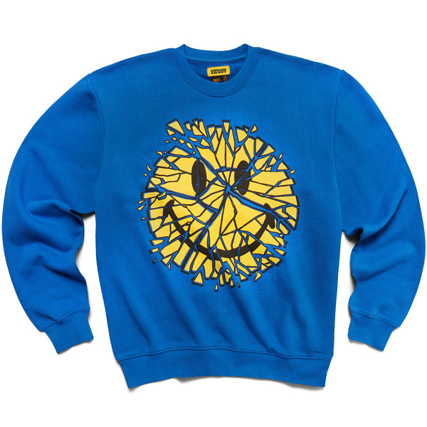 Chinatown Market Smiley Glass Sweatshirt (Blue)