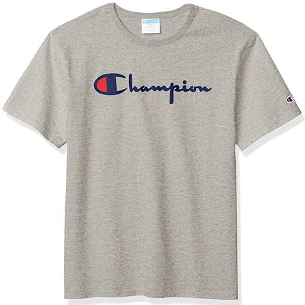 Champion Heritage Flock Script Logo Tee (Oxford Grey)
