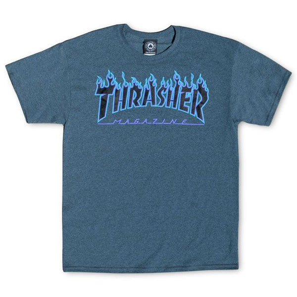 Thrasher Flame Logo Tee (Dark Heather)