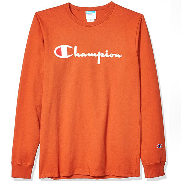 Champion Heritage LS Flock Script Logo Tee (Burnt Orange)