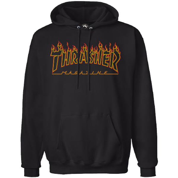 Thrasher Flame Outline Hoodie (Black)