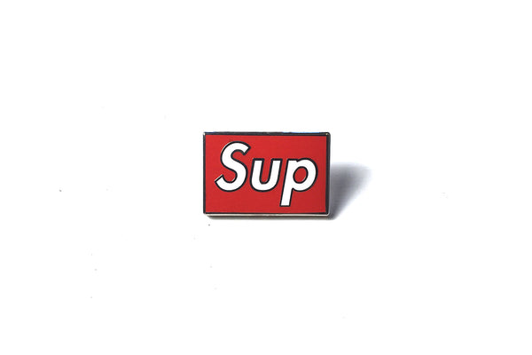 PINTRILL BOOTLEG PIN SUP - WHITE ON RED