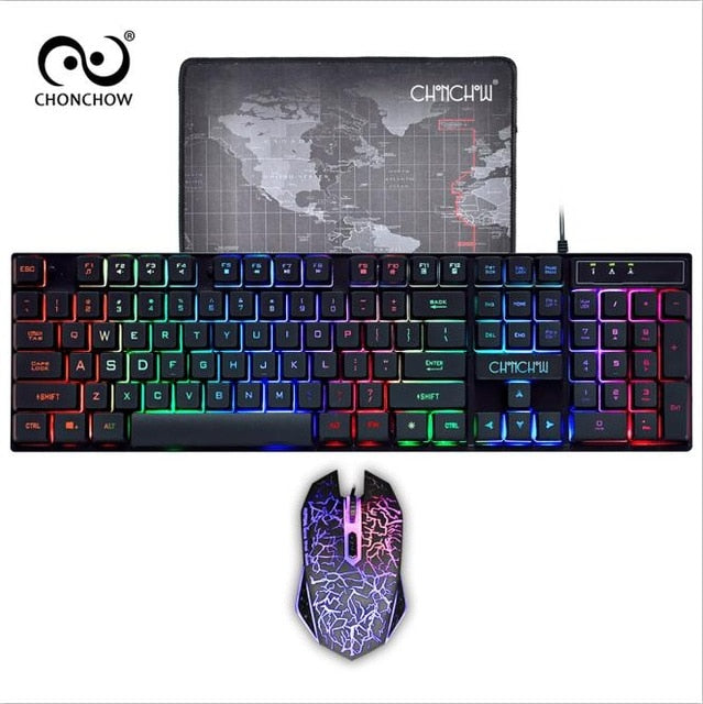 PC Gamer Backlight Gaming Keyboard and Mouse Combo Standard USB Wired Rainbow English Game Keyboard 3200 DPI Optical for Laptop