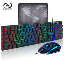 Load image into Gallery viewer, PC Gamer Backlight Gaming Keyboard and Mouse Combo Standard USB Wired Rainbow English Game Keyboard 3200 DPI Optical for Laptop